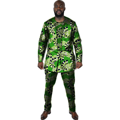 Tailor made africa men print tops+trousers patchwork african clothes for men long sleeve tshirt and pant set