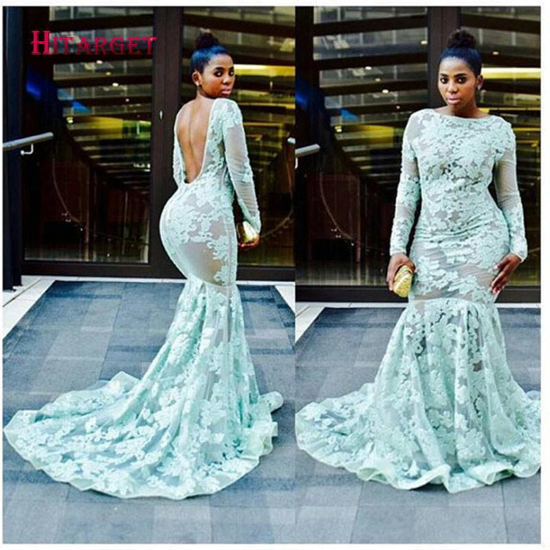 2017 Fashion Lady Backless Dress African Women  Lace material Long Sleeves Fishtail Gown Africa Kanga Lace Dress For Lady WY873