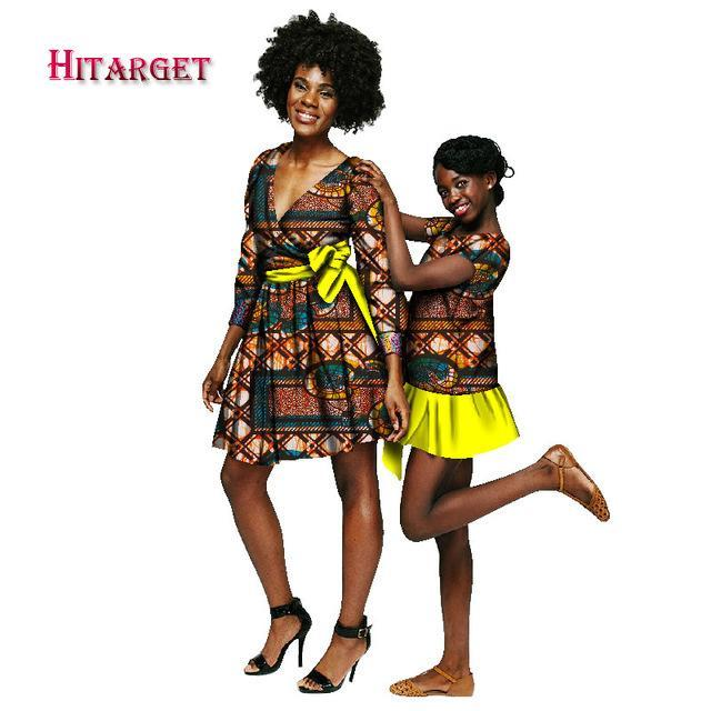 2017 Autumn African Long Sleeve Dresses for Women and Girl's Short Dress 2 Pieces Together Africa Traditional clothing WY1245