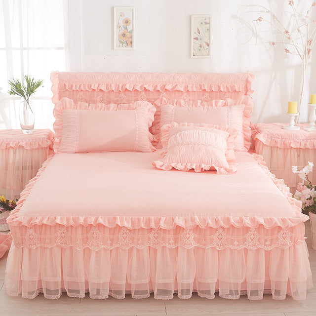 Lace Bed Skirt +2 pieces Pillow cases Princess Bedding Girls Bedspread Bed sheet