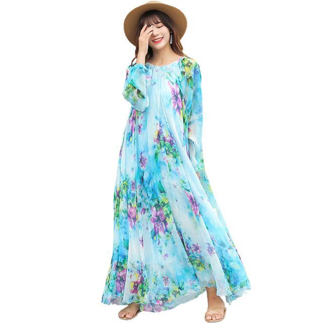 f2fab27575c Hover to zoom · 2018 chiffon Long Sleeve maxi dress bohemia dress full plus  ...