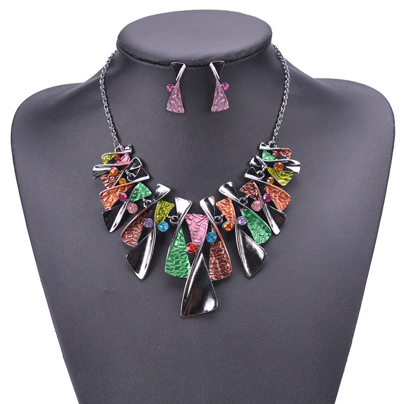 Fashion Black Crystal Jewelry Sets Geometric Choker Maxi Necklace and Earrings Set Women Enamel Jewelry Set Nickel Free Duftgold