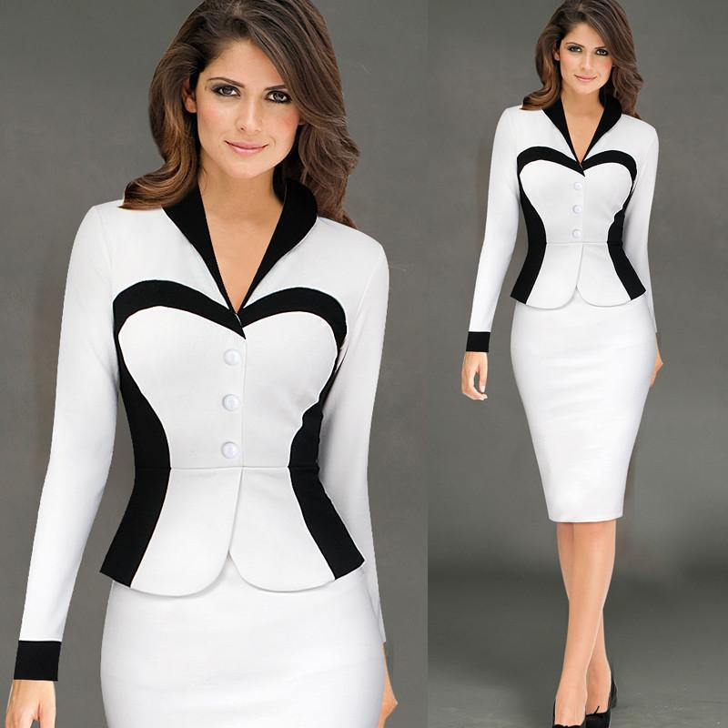 2017 Formal businese v Neck white red winter Office Dress Women Knee Length pencil bodycon Peplum dress with jacket One piece