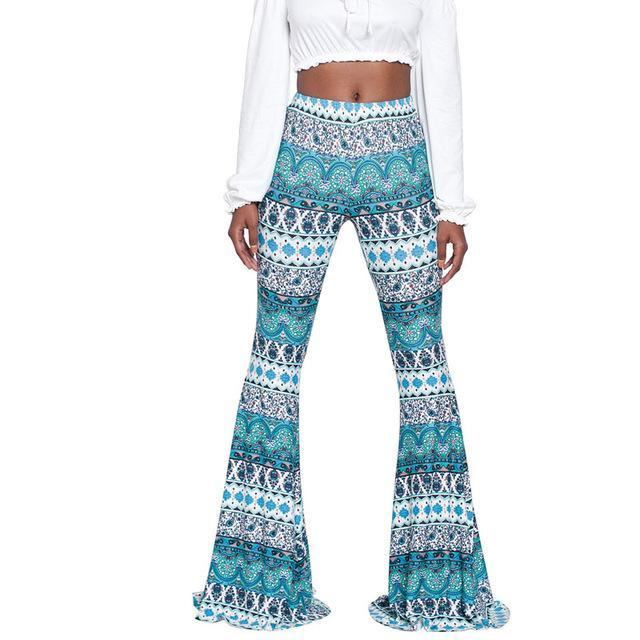 2017 Autumn Plus Size XXL Hight Waist Print Flared Pant Women Casual Trousers Floral Femme Long Pants Fashion Bodycon slim Pants