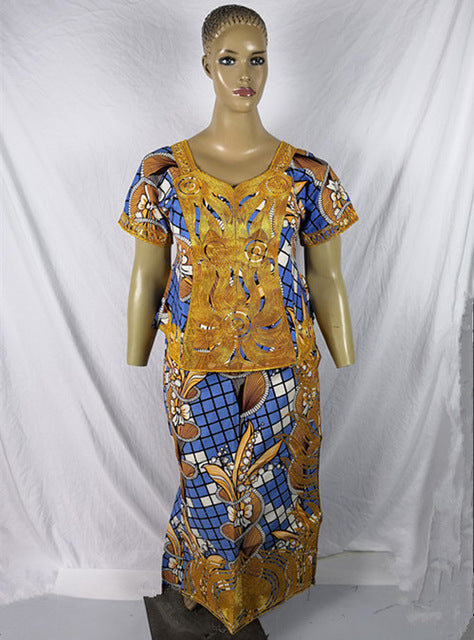 Ankara kitenge clothes design make by cording embroidery short top with wrapper and sacrf 3pcs/set