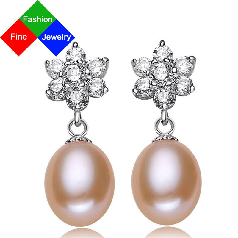 BSL Fine Jewelry Fashion New Arrival Real 925 Sterling Silver Freshwater Pearl Earrings For Women AAAA Freshwater Pearl