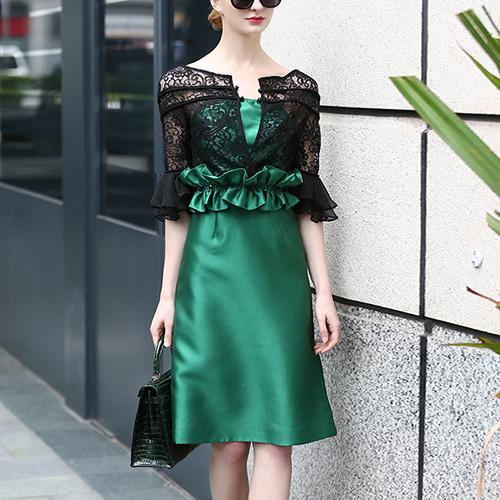 2017 New Fashion Women Spring Autumn Hollow Out Lace Dresses Patchwork Slim  Casual Work Office Dress