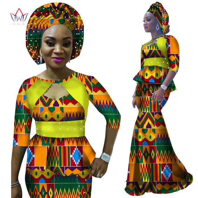 African Dashiki Print Half Sleeve and Maxi Skirt With Free Headwear Plus Size 6XL