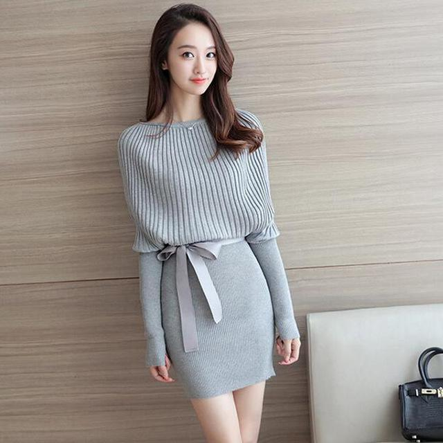 2016 Korean Women Batwing Sleeve Dress Winter Elegant Bow Dresses Mini Knitted Bodycon Party dresses Grey and Black High Waist