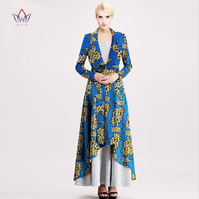 2017 outerwear New African trench coat for women plus size Dashiki Africa Traditional Clothing casual cotton full lining WY894