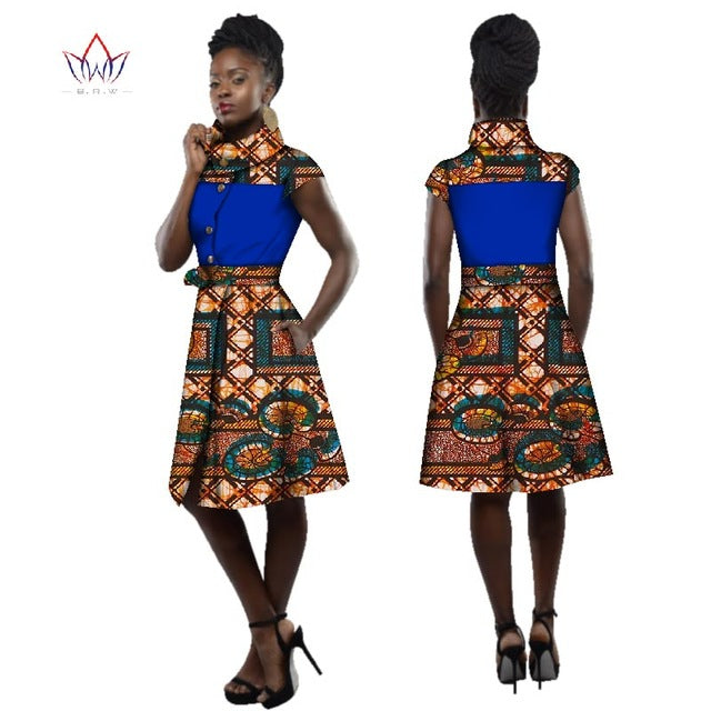 21950795b5208 New Style 2017 Traditional African Dress For Women Dashiki Plus Size Africa  Style Clothing Turtleneck Office Dress BRW WY2505