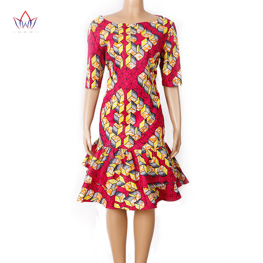 Cheap Price Bazin Riche Summer Dress For Women Fashion African Style Draped Dress For Girl Only One Size WY1027