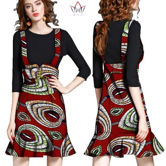 2017 Autumn African Women Clothes Denim Skirts Gilr Dame Africaine Robe Bazin Riche Plus Size 6XL Womens Skirts Striped WY2483