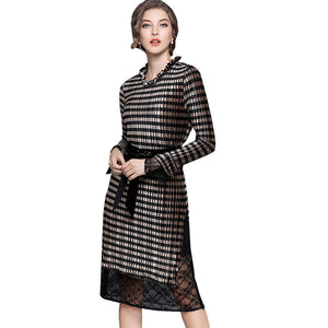 b177d7401e25 2018 Spring Autumn Women New Striped Dress Lace Petals Collar Fake Two  Tighten The Waist Dresses ...