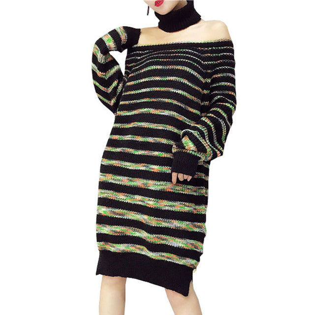 Women Christmas Sweater Dress.Pull Femme Hiver 2017 Striped A Word Shoulder Women Christmas Sweater Dress Fashion Collars Woman Sweater Pullovers Long Sleeve