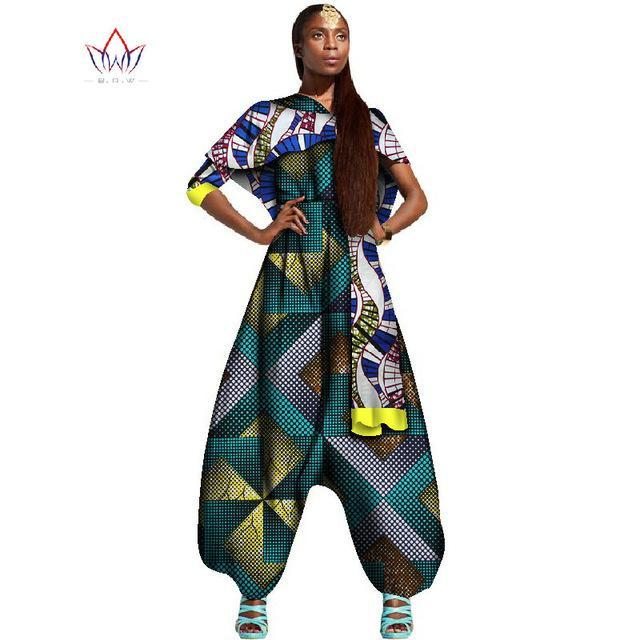 2017 Spring Ankara Fashions Traditional African Clothing for Women Long Fat Jumpsuits & Shawl Women Pants Suit WY1428