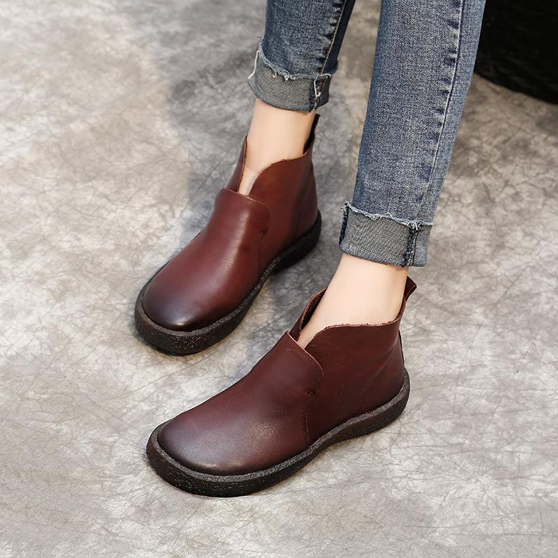 2017 autumn and winter new women's boots literary retro leather boots flat sleeve leather bare boots