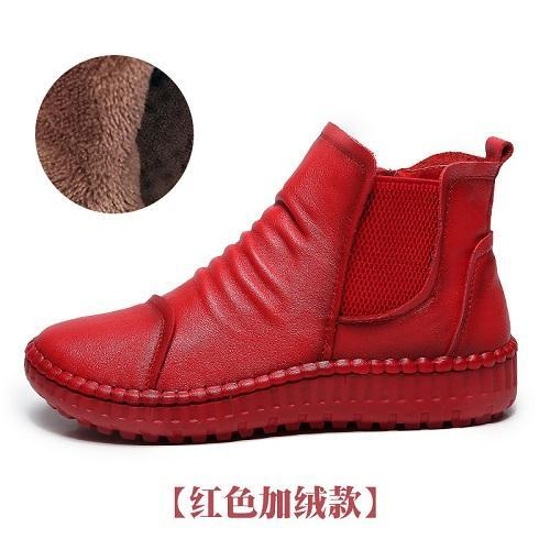 2017 autumn and winter new leather boots handmade women flat shorts casual bare boots leather boots women