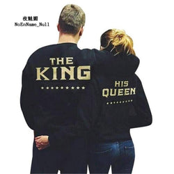 2017 Women Pullovers Couple Suit King Queen Letter Printed Fashion Casual Loves Sweatshirt Girlfriend His And Her Clothing Woman