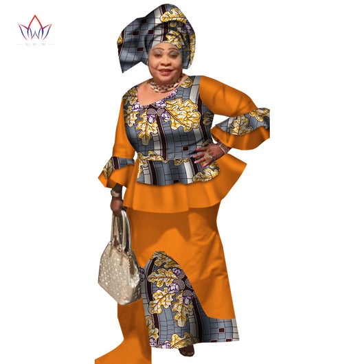 Africa Style Bazin Riche Dresses for Women Two Pieces Set Women Long Sleeve Tops and Long African Print Skirt Plus Size WY2496