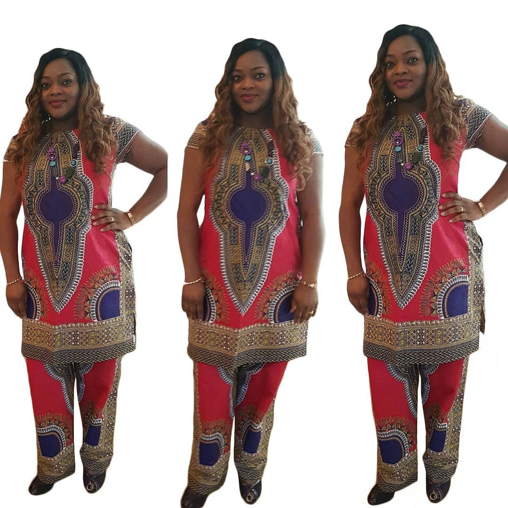 2017 New Fashion Summer two pieces Set Women Short Sleeve Long Top and Nine Pant Sets Sexy Print Dashiki Femme Vestido Africa