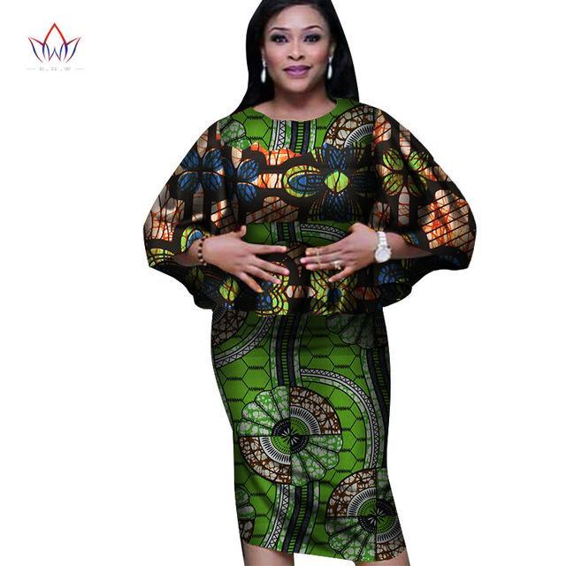 2017 Women's Summer 2 Pieces Skirts Set African Dashiki Print for Women Cotton Tops and Bodycorn Skirt Women Plus Size  WY2528