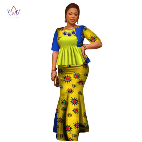 6abf8771f ... Image of Summer Women Dress Traditional African Traditional 2 Pieces Women  Set Clothing Custom Made Tops ...