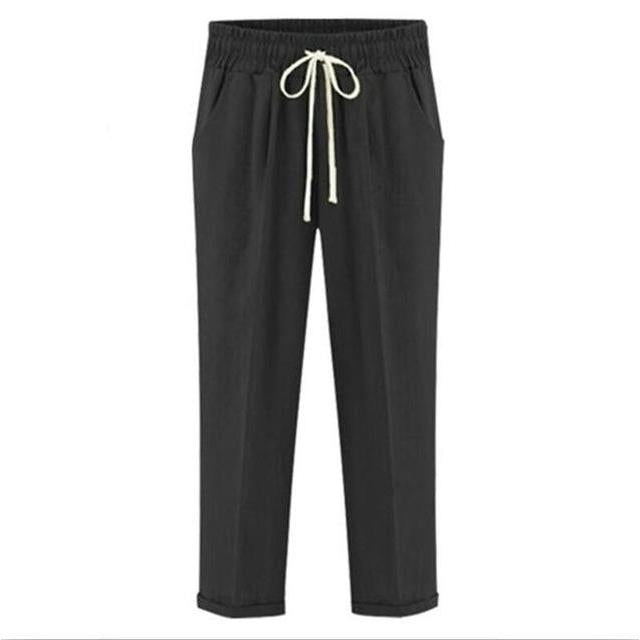 2017 Autumn women linen pants Summer Women Harem Pants plus size Causal Pants big size Trousers M-5XL 6XL 7XL black blue Khaki