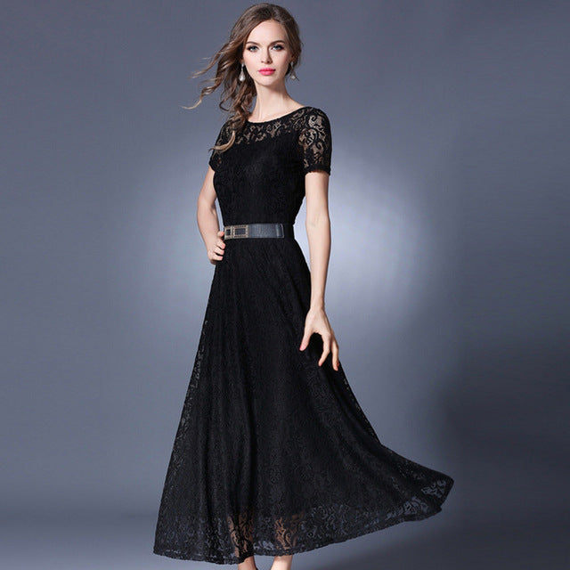 de75602a3a685 High quality Solid Whit Black Lace long dress 2017 summer stylish Women's  Elegant Party dresses Short sleeve Hollow out Robes