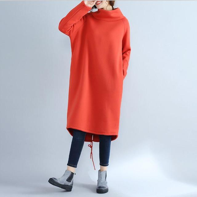 2017 Long Sweatshirt Hoodies Women Fashion Winter Casual High Neck Long Sleeve Oversized Dress Sweatshirts Kpop Moletom Truien