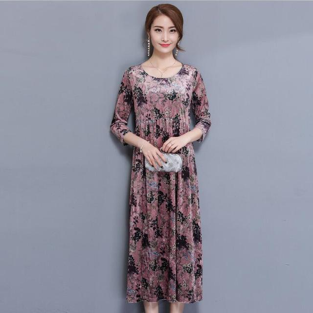 2017 New Spring Autumn Couture Loose Thin Long Velvet Dress Printing O-neck Casual Women Work Wear Long Dresses Plus Size
