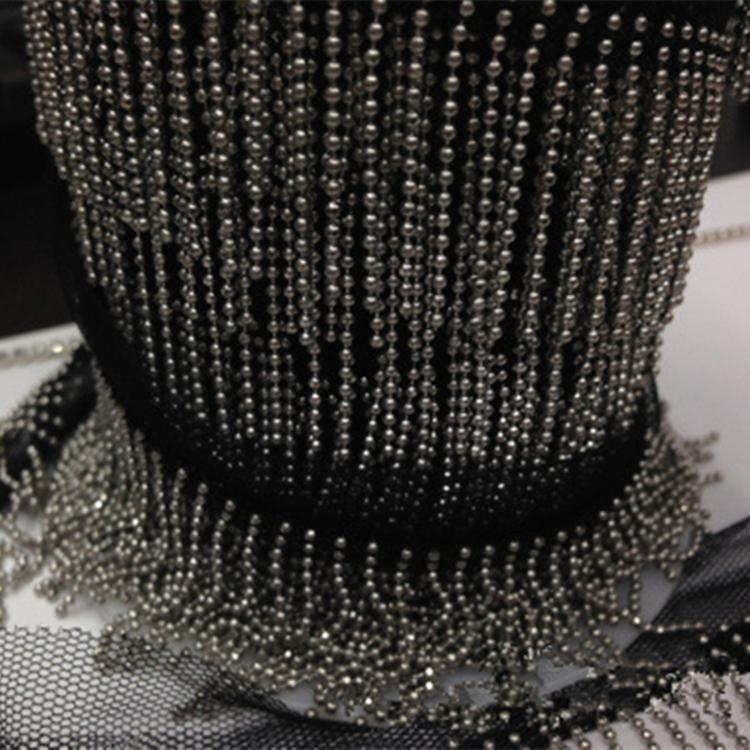 2.8cm 2yard/lot Gold/ Silver Metal Chain Tassel Tapes Accessary Lace Mesh Metal Tassel Trim for Shoes, Hat, Dance Clothes Z106