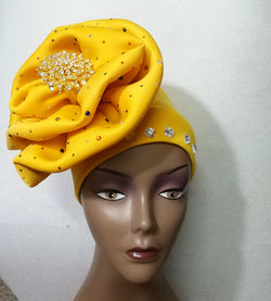 Already made  aso ebi headtie cap with stone and brooch for african lace