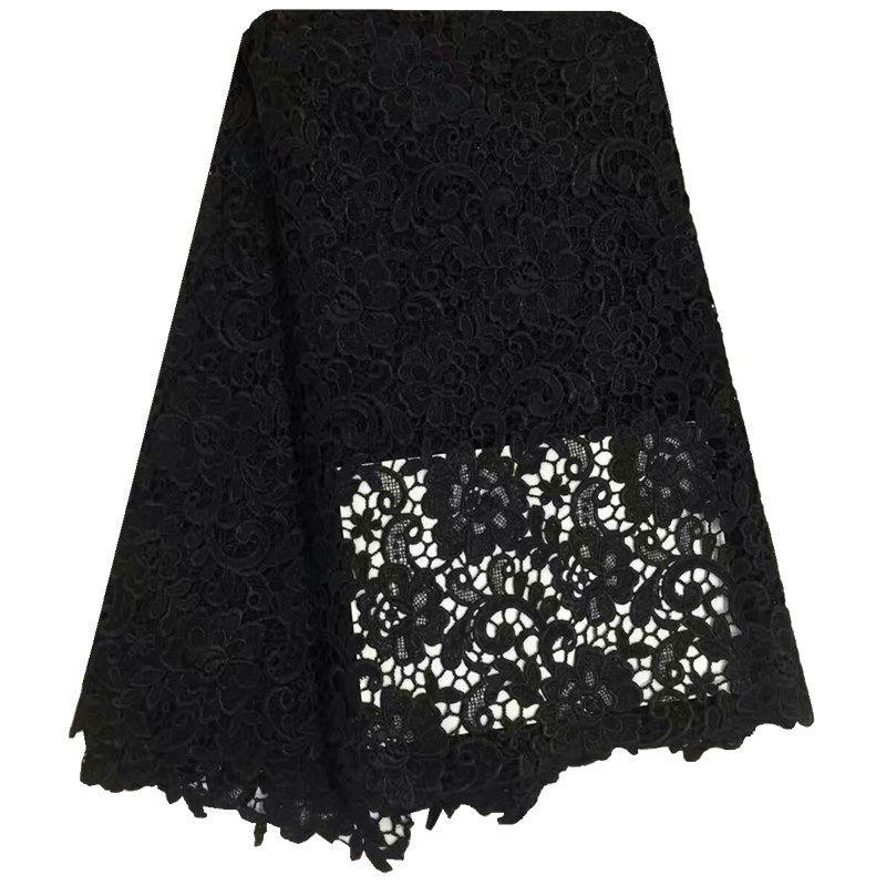 2016 Latest African Nigerian Wedding Dress Lace Fabric Black Water Soluble Chemical Cord Lace/Guipure Lace Fabric 5 Yards