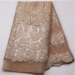 Nigeria Laces Fabric Gold French Tulle Lace Fabric With Bead African Mesh Net Fabric Embroidered For Women Dress GD539B-9