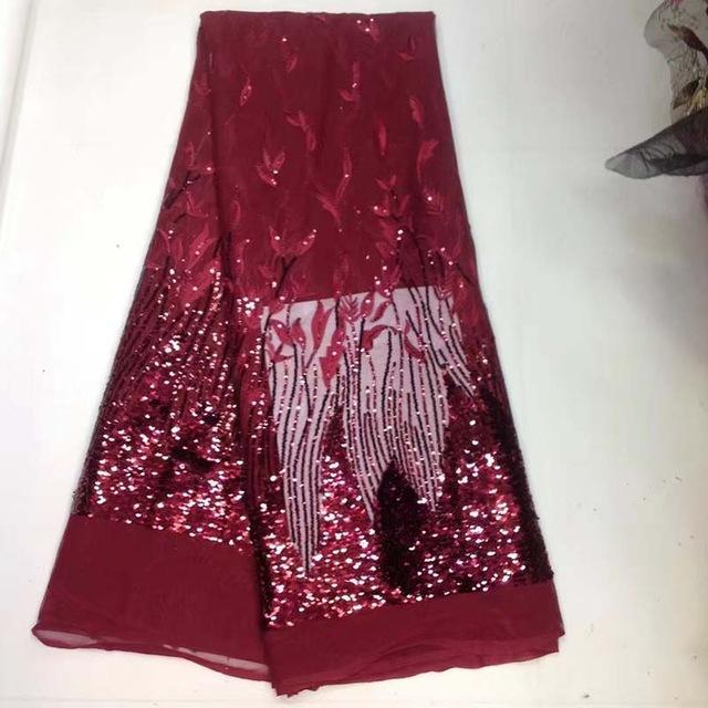 2017 High Quality African Net Lace Fabric Jujube red Sequins,French Net Embroidery Sequins Tulle Lace Fabric For Nigerian party