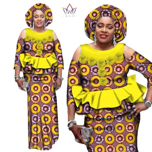 2017 African Dashiki Two Pieces Set Women Half Sleeve Crop Tops & Long Skirt Sets African Mermaid Maxi Clothing 6XL BRW WY2544