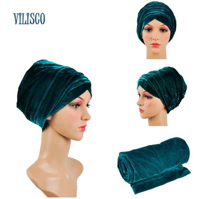 12 Colors Solid Soft Headtie African Turban Headties Sego Gele Head Tie for Women Party Accessories Velvet Turban Headwear XH08