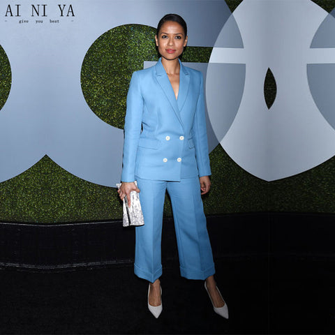 New womens business suits light sky blue double breasted elegant ...