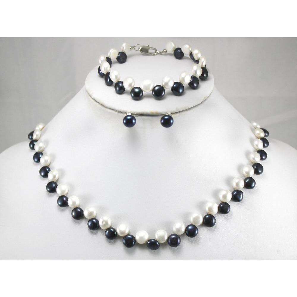 100% Selling full 8MM White Black Pearl Necklace Bracelet Earring Pearl Jewelry Set
