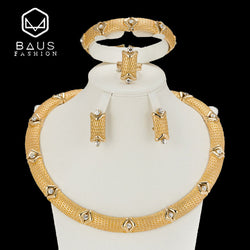 BAUS High Quality Dubai Jewelry Sets Bridal Gift Nigerian wedding accessories African Gold-color jewelry set Wholesale design