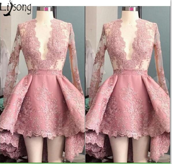 26a0be72b8 Hot Dusty Pink Prom Dress Mini Hi-low Full Sleeves Womens Special ...