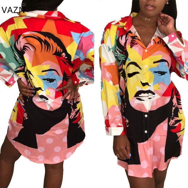 da80ab9202e VAZN 2018 New Bandage Print Women Sexy Short Dress Notched Mini ...