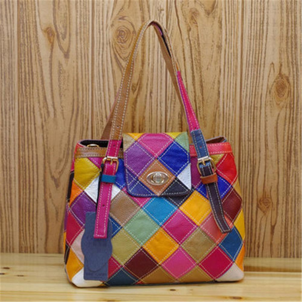 2017 Genuine leather bags women totes Ling plaid crossbody bags for women luxury brand Casual Shoulder Bag Ladies shopping totes