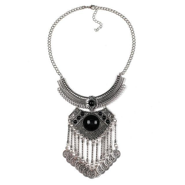 2 colors New design bead shape wholesale women fashion necklace costume metal tassel pendant necklace choker bib boho Necklace