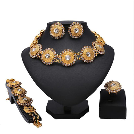 .New Women Wedding Vintage Jewelry Set Gold color Trend Jewelry Sets Neck strap Natural metal Round sunflower Earrings Ring Sets