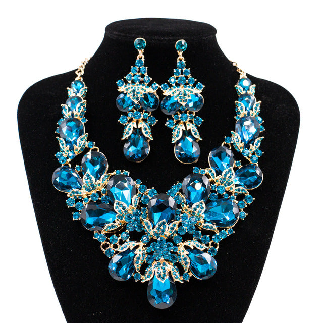 ... Free Shipping African Women Engagement Heavy Crystal Rhinestone Jewelry  Set Costume Necklace and Earrings Sets ... a24413679423