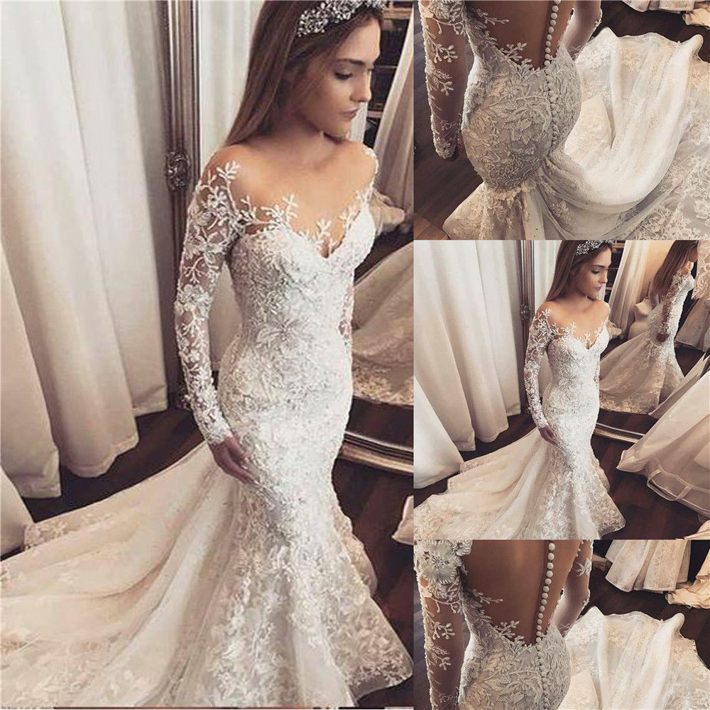 a4eb14ecad8d Long Sleeve Lace Wedding Dress Mermaid - raveitsafe