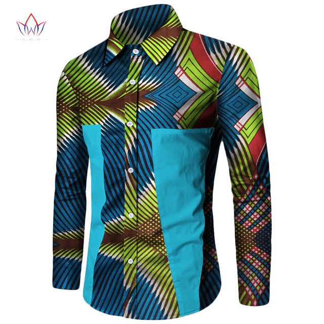 25224273c56 ... Plus Size New Summer 2018 African Shirt for Men Dashiki Long Sleeve African  Clothes Patchwork Casual ...