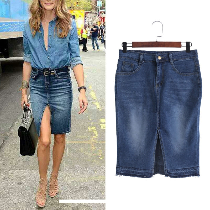 db5811334 Fashion Short Skirt Women's Retro Summer Mini Denim Skirt High-Waist Ripped  Hole Front Split. Hover to zoom